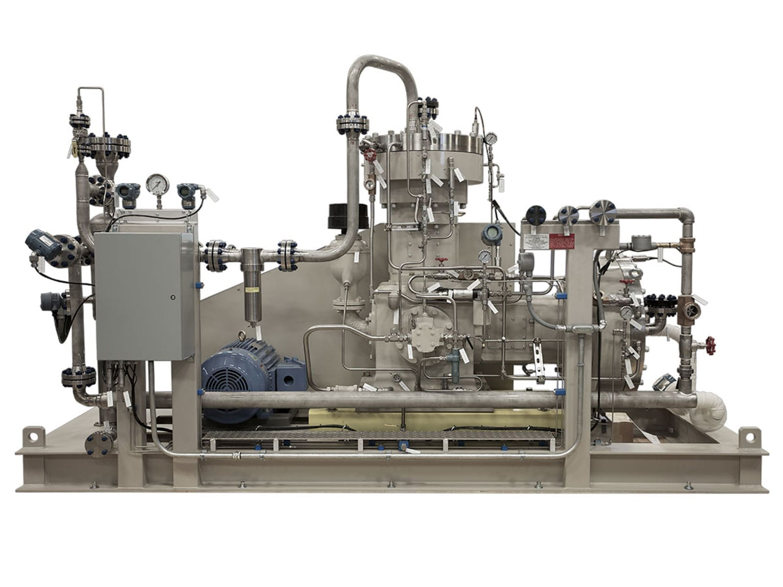 High pressure two-stage compressor pumping tetrafluoroethylene (TFE) gas