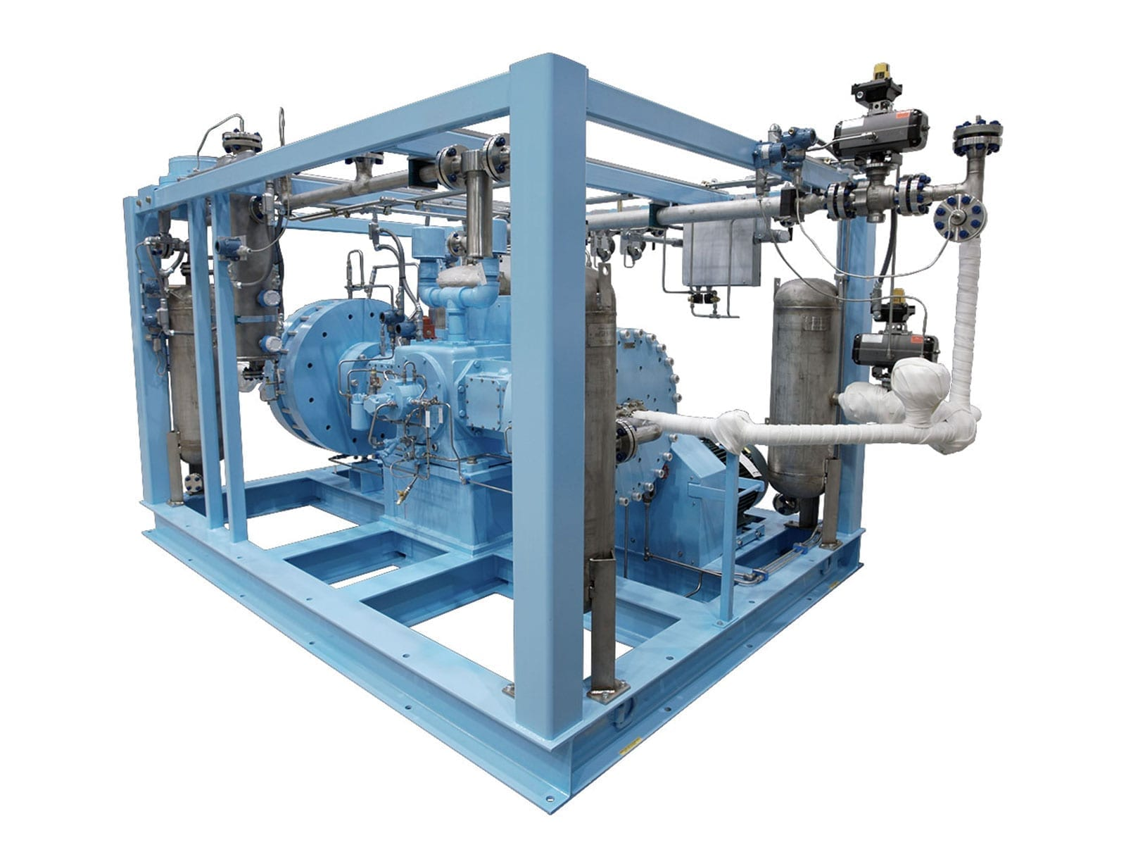 Two stage diaphragm compressor for vinyl fluoride gas