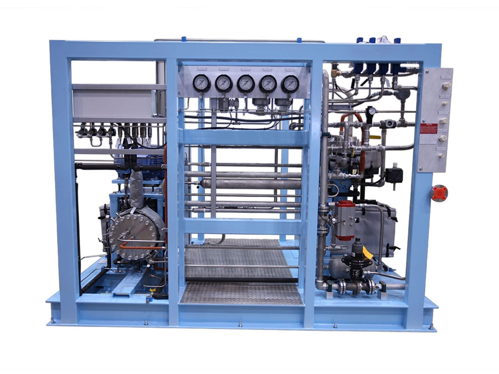 Three stage diaphragm compressor for neon and fluorine gases