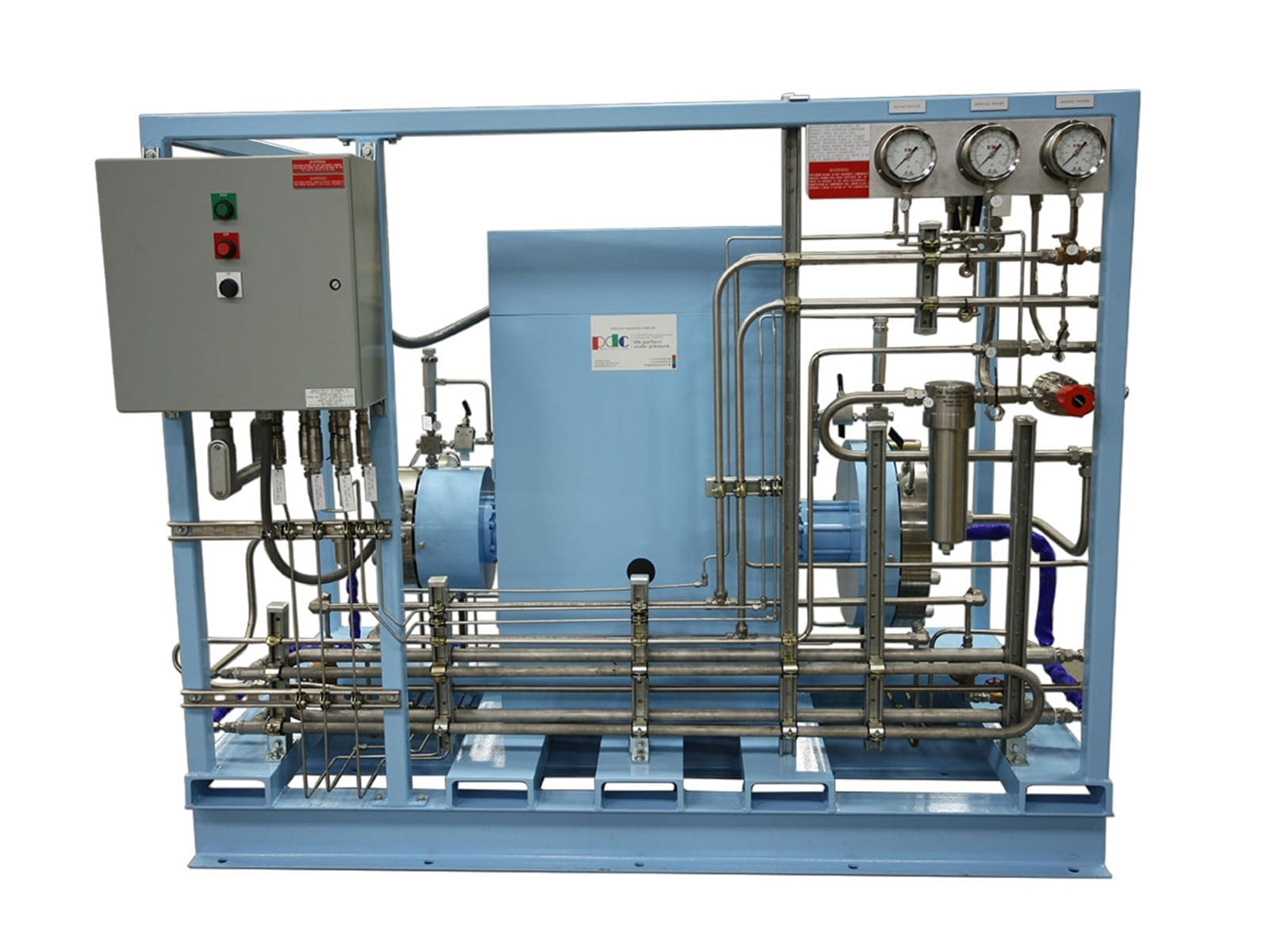 Two stage diaphragm compressor for oxygen gas