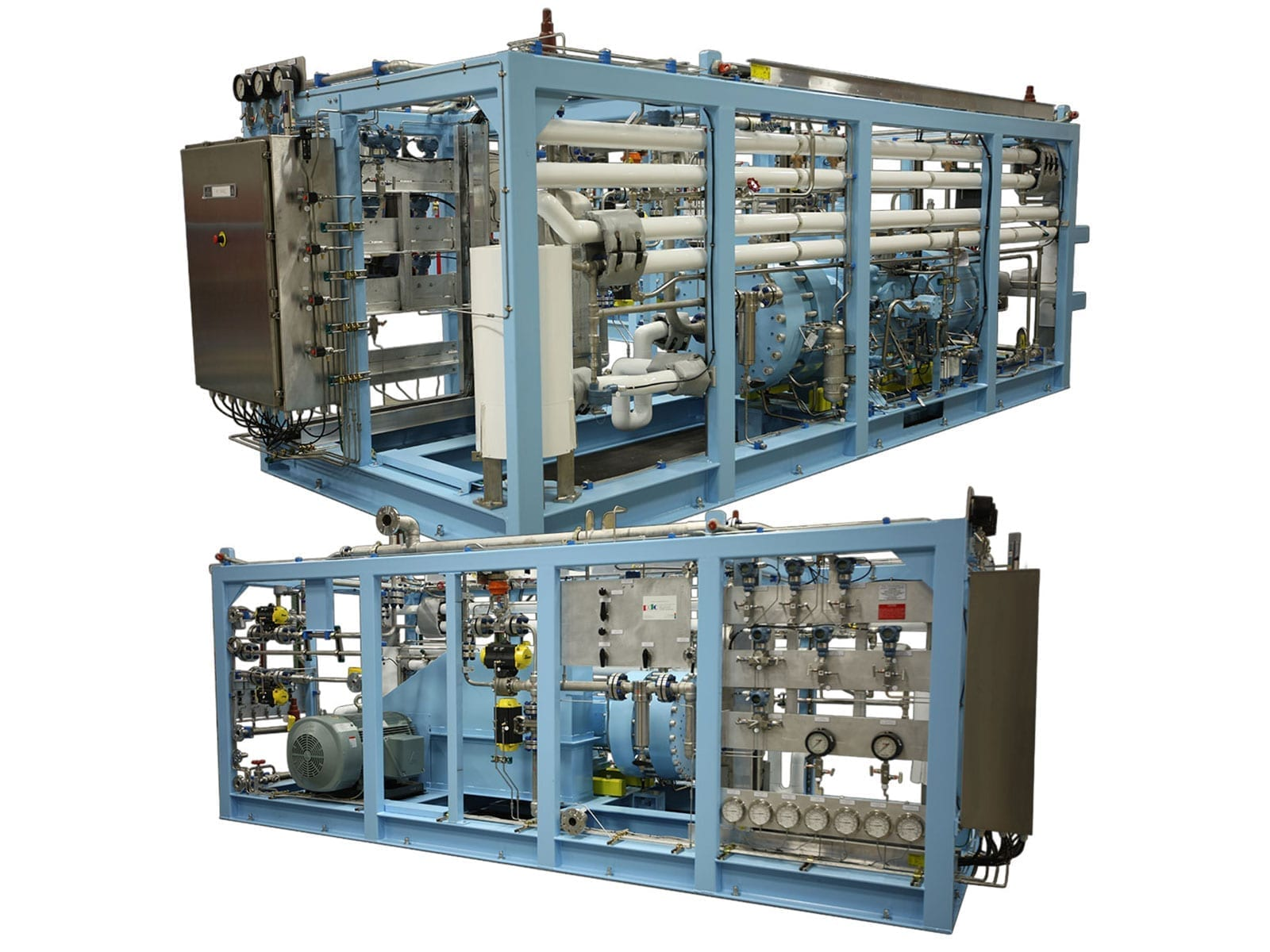 Two stage diaphragm compressor for nitrogen gas