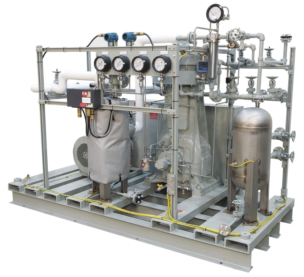 Single stage diaphragm compressor for specialty gases