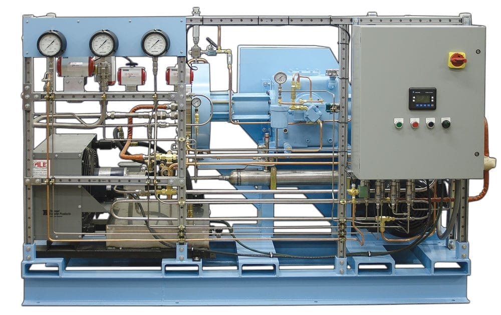 two-stage high pressure reciprocating diaphragm compressor for helium and oxygen