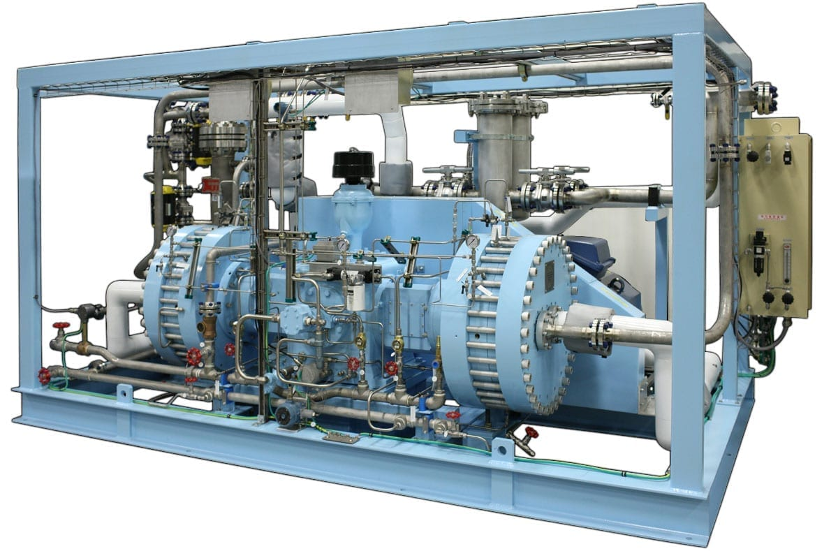 Two-stage compressor for HCL gas service